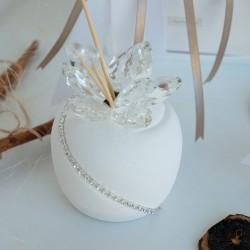 Profumatore Ceramica Ampolla Bianca Fiore Swarovski