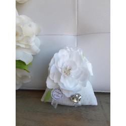 Sacchetto Mini Francesina con Fiore Bianco