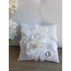 Sacchetto Puff Quadrato con Fiore Bianco